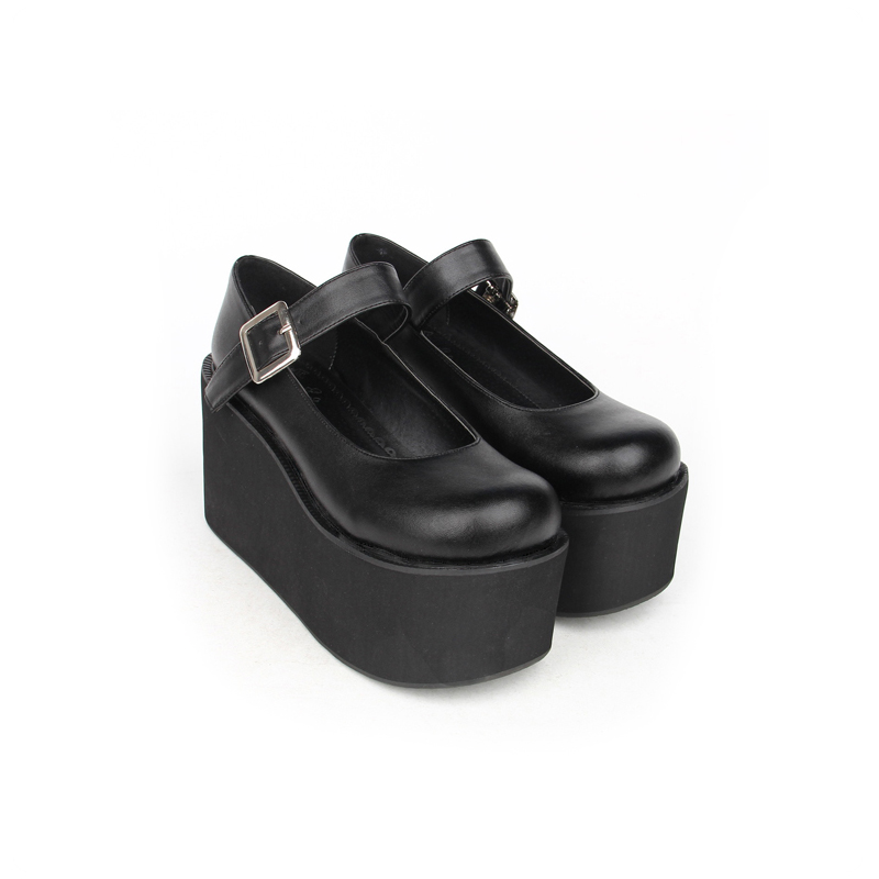 Japanese Lolita Cosplay Spring & Autumn Mary Jane Buckle Strap Thick Platform Wedge Pumps Shoes