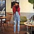 Mediados de-cintura trajes agujero de cuerpo entero luz lavan pantalones de mezclilla 2017 nueva primavera moda delgado bolsillos jeans rasgados