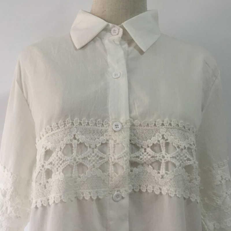 2017 New Autumn White Lace Blouse Plus Size 4XL Women Tops Casual Loose Blouses Long Sleeve Vintage Ladies Shirts Blusas AB318