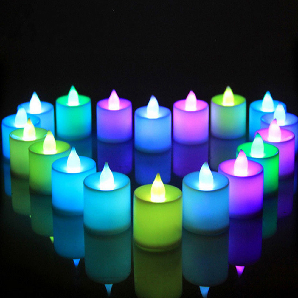 NEW Creative Candle LED Light Mini Colorful Romantic Smokeless Flameless Candle Lamp Wedding Birthday Party Christmas Decoration in LED Night Lights from Lights Lighting