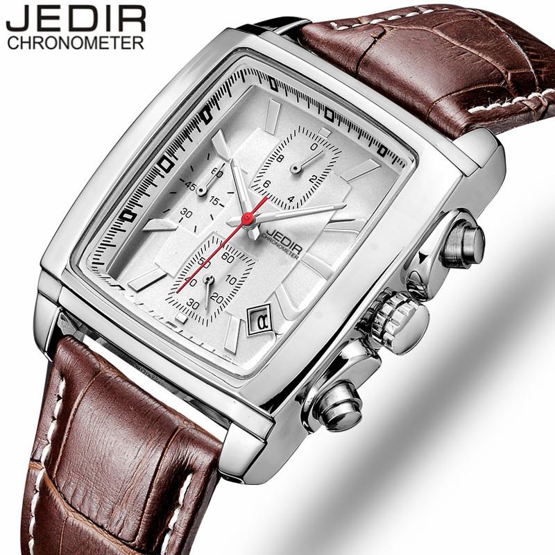 JEDIR Sports Men Watches 2017 Top Brand Luxury Male clock Men Chronograph Leather army Quartz-watch Military relogio masculino  jedir brand men sports watches 2017 genuine leather military wristwatch racing men chronograph watch male glow hands clock