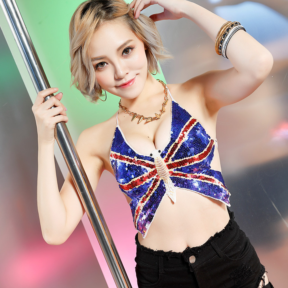 Blue Sequins Pole Dancing Parties British Butterfly Apron New Nightclub Sexy Ds Collar Fish Dance Costumes Female Duftgold