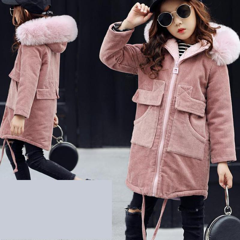 Girls Coat Brand New 2017 Fashion Outerwear & Coats Girls Jacket Solid Kids Jacket Fur Hooded Girls Winter Jacket 10 11 12 13 14