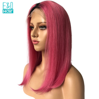 1B/Pink 2 Tone color Straight Brazilian Remy Hair Ombre Color Lace Front Human Hair Wigs With Baby Hair Bob Hair Bleached Knots
