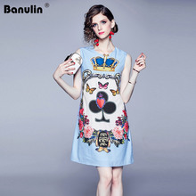 Banulin 2019 Autumn Summer Fashion Runway Short Dress Womens Sleeveless Tank Retro Crown Floral Print Mini Vintage