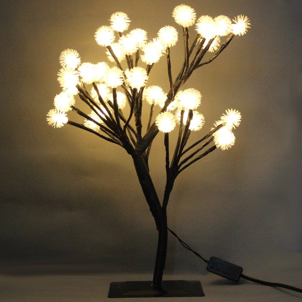 цена на Creative LED Snow Ball Tree Night Table Light Christmas Wedding Party Indoor Home Desk Lamp US EU AU Plug Luminaria Decoration