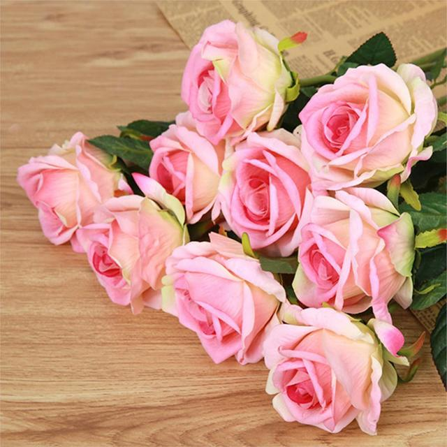 New Multi Color Realistic Fake Flower Arrangement Home Room Decor Rose In Silk Cloth Artificial