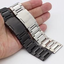 Correa de reloj de acero inoxidable cepillado para hombre y mujer, banda de reloj de 18mm, 20mm, 22mm, 24mm, 26mm, 28mm, 30mm, 32mm, pulseras negras/Plateadas