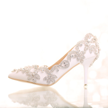 2017 High Heels Women Wedding Shoes White Diamond Bride Shoes Crystal Wristband Colorful Crystal Shoes For Party Waterproof