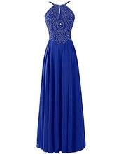 Abend Langes Kleid 2017 Kostenloser Versand Vestido De Gala Luxus Kristalle Perlen Royal Blue Abendkleider