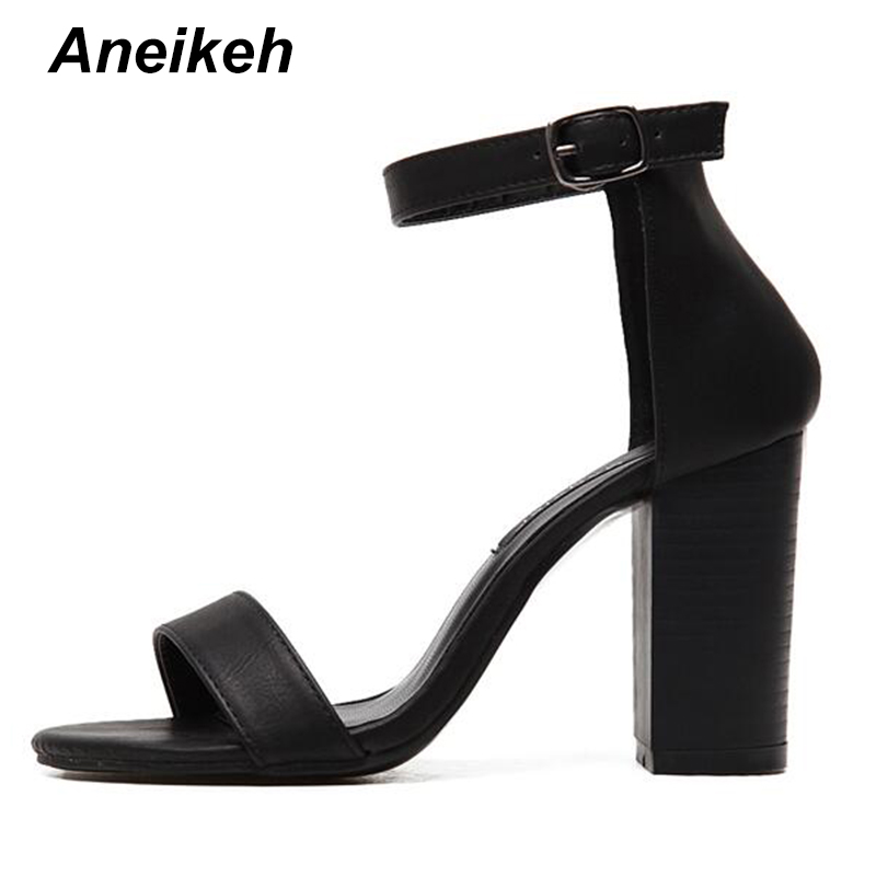Aneikeh 2018 Ankle Strap Heels Women Sandals Summer Shoes Women Open Toe  Chunky High Heels Party 90b1e907a654