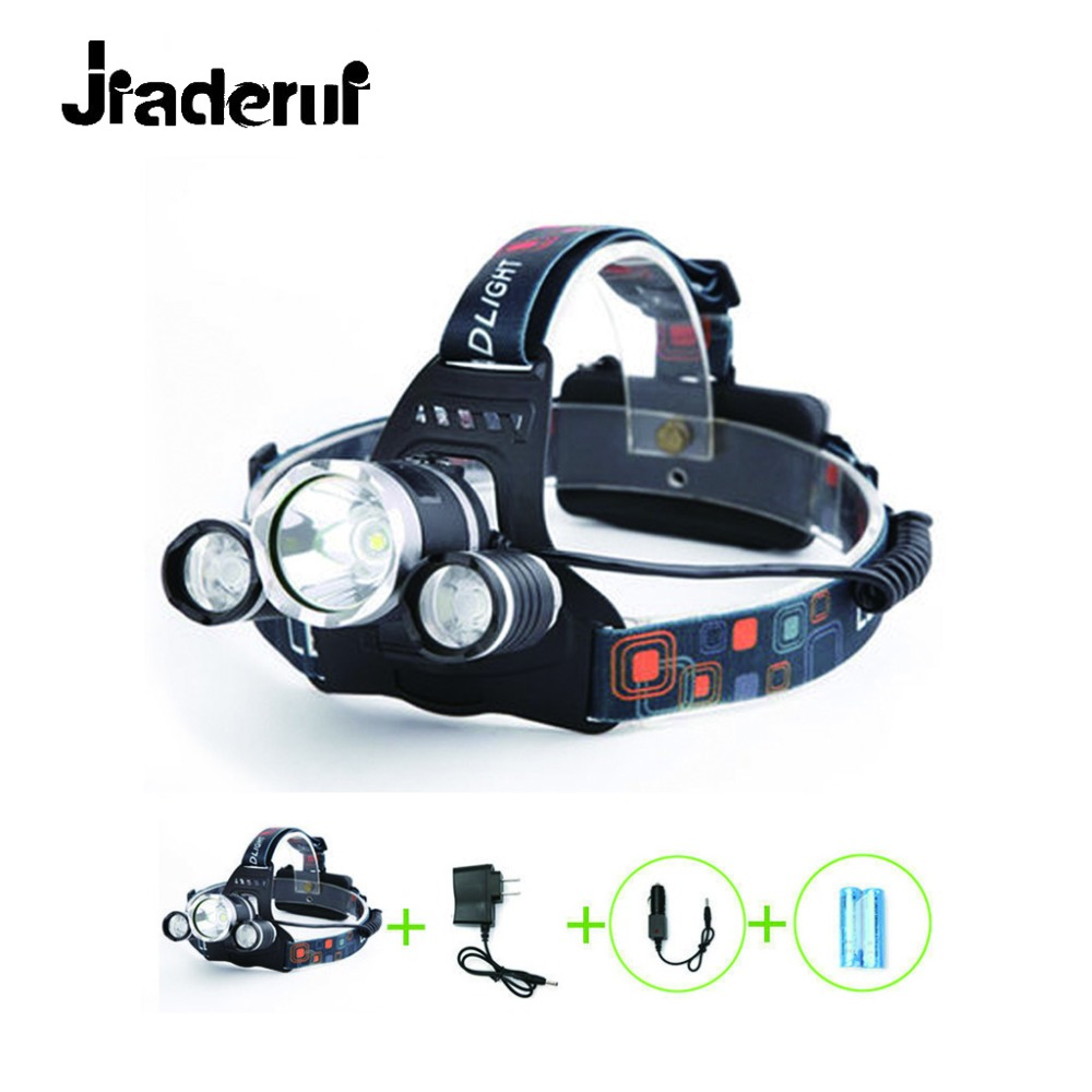 Jiaderui Bright LED Headlamp Kit Waterproof Headlamps Rechargable 90 Degree Rotatable Head High Brightness LED Flashlight