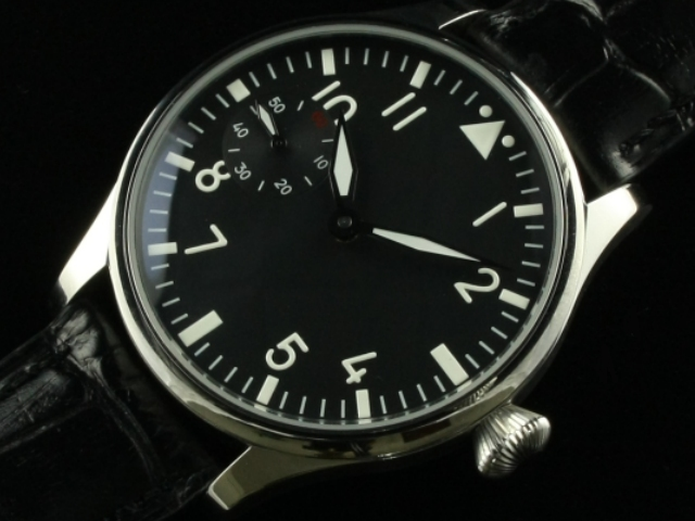 44mm Parnis 6497 hand Winding Black Dial Watch