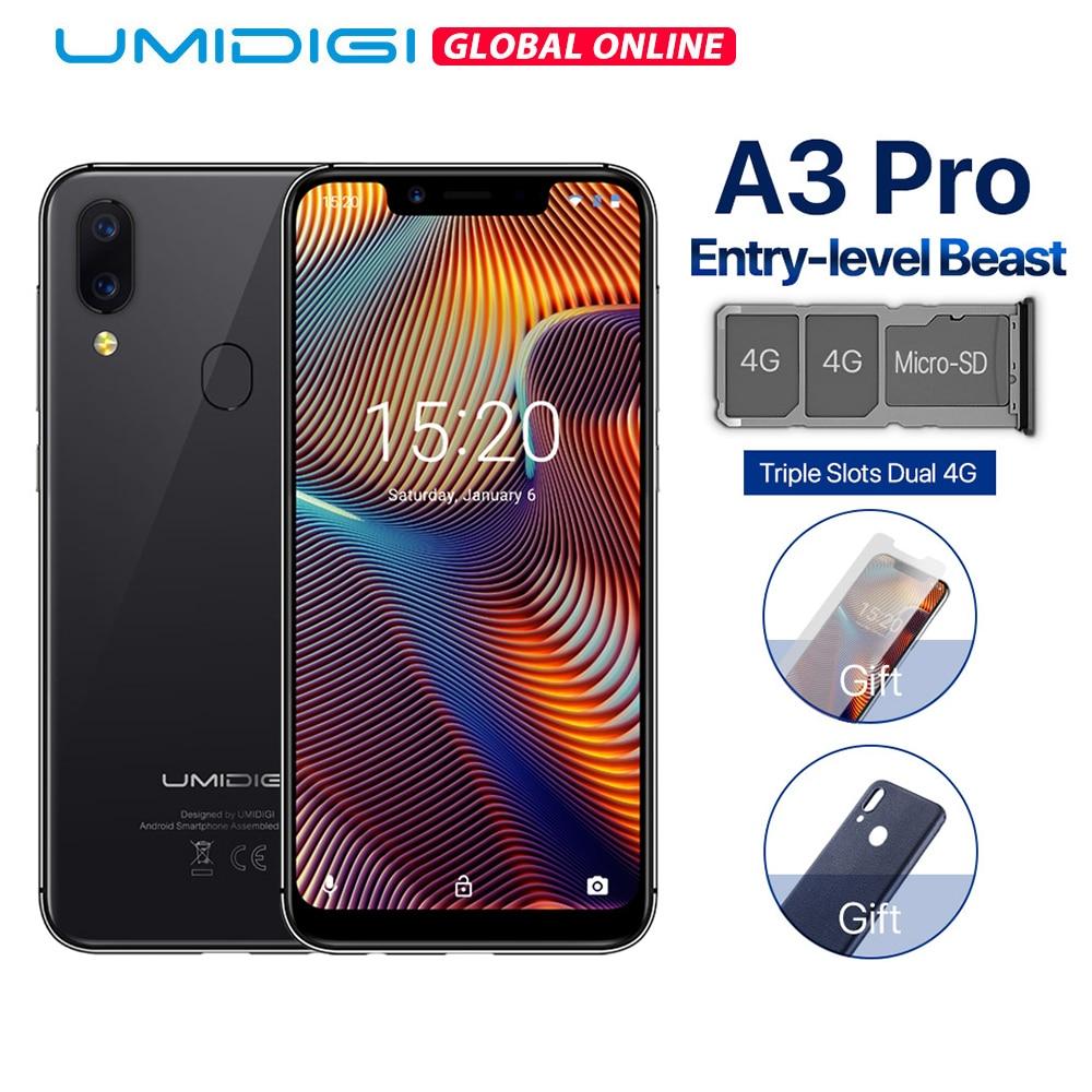 UMIDIGI A3 Pro Global Band Android 8.1 5.7 19:9 téléphone mobile plein écran 3GB + 32GB 12MP + 5MP visage déverrouillage double Smartphone 4G