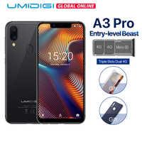 """UMIDIGI A3 Pro globalny zespół Android 8.1 5.7 """"19:9 na pełnym ekranie telefonu komórkowego 3GB + 32GB 12MP + 5MP odblokowanie twarzy podwójny 4G Smartphone"""