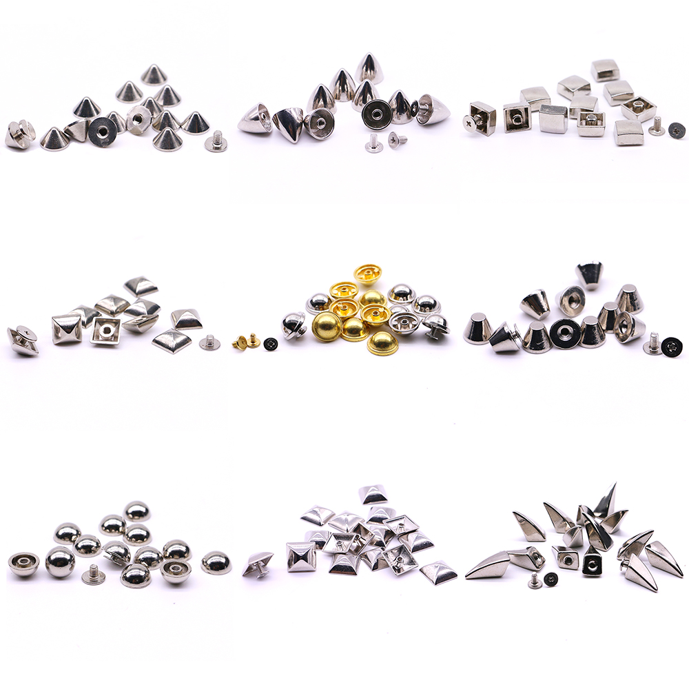 New High Quality Screw Rivets 10 sets/pack Square rivet metal studs for shoes Silver pyramid moulds rivet B-06