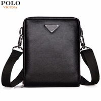 VICUNA POLO Brand Double Pocket Men Bag Messenger Bags Leather Men Shoulder Bag Business Travel Crossbody