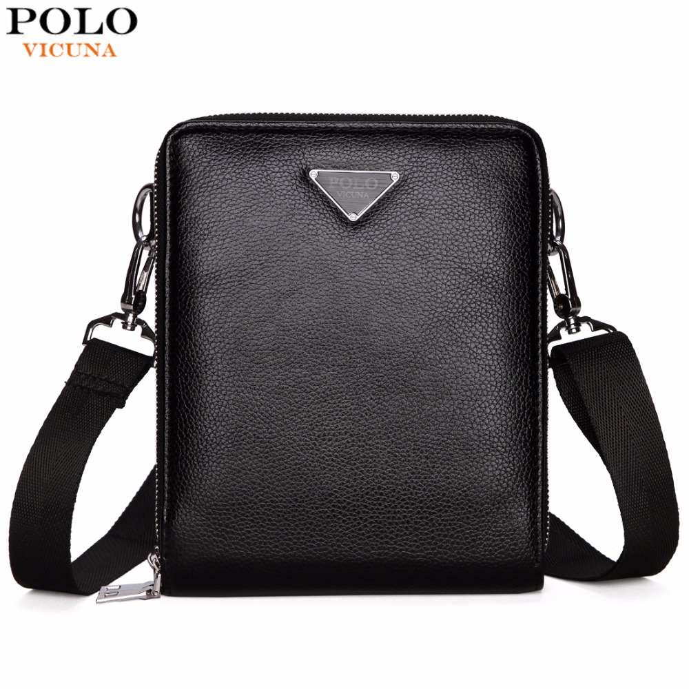 VICUNA POLO Brand Double Pocket Men Bag Messenger Bags Leather Men Shoulder Bag Business Travel Crossbody Bag Handbag For Male vicuna polo new arrival brand business men s shoulder bag square design casual men bag promotion leisure messenger bag top sell