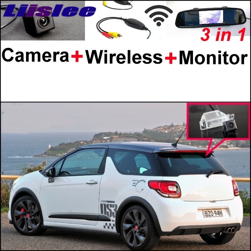 Liislee 3 in1 Special Rear View Camera + Wireless Receiver Mirror Monitor BackUp Parking System For Citroen DS3 DS 3 2009~2015