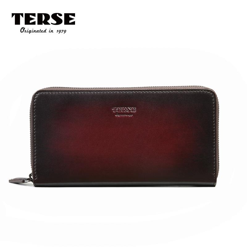 TERSE_Hot Sale Genuine Leather Men's Wallet Long Clutch Cowhide Cards Phone Wallet Male Handmade Bordeaux Red Purse Custom 606