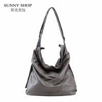 SUNNY SHOP 100 Genuine Leather Women Bag Brand Designer Big Over The Shoulder Bags Solid Soft