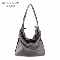 SUNNY SHOP 100 Genuine Leather Women Bag Brand Designer Big Over The Shoulder Bags Solid Soft