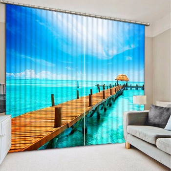 Fashion Customized Home Bedroom Decoration 3D Curtain Wooden Bridge Seascape Curtains For Blackout Curtains Living Room