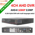 Nueva llegada! 4CH 1080 P AHD DVR de 1080 P HD Analógico CCTV AHD Cámara AHD-H 2.0mp vigilancia grabador de vídeo idiomas DVR
