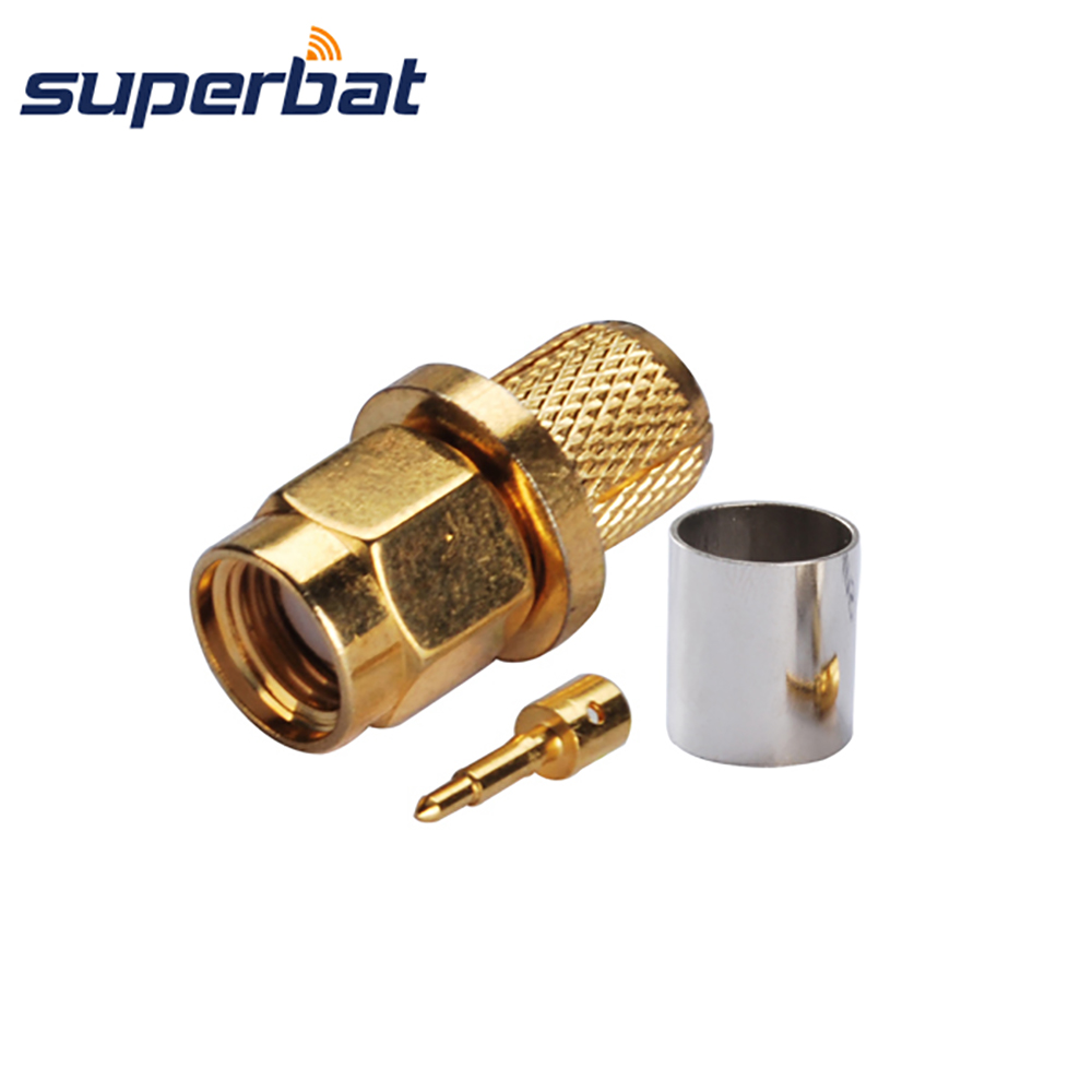 Superbat SMA Male Plug Crimp Straight 50 ohm RF Coaxial Connector for 50-5 Cable Goldplated