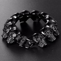 Men's Hand Bracelet Stainless Steel Punk Black Skull Skeleton Head Male Bracelet Bangle European Rock Cool Jewelry