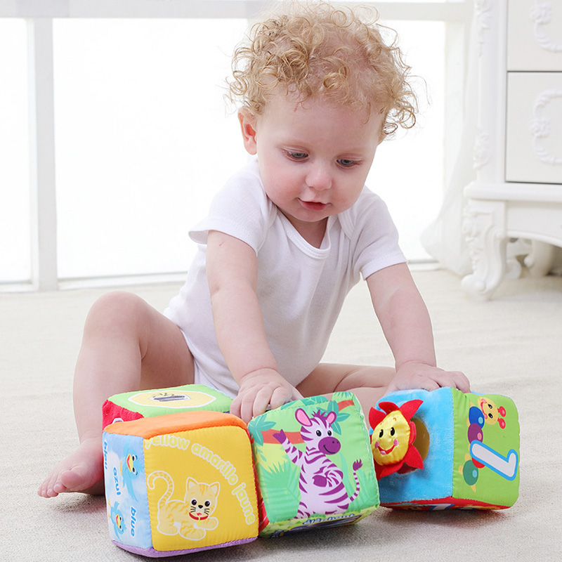 Baby Cloth Building Block Toys Infant Cloth Doll Rattle Early Educational Toys Plush Soft Mobile Magic Cubes 0-12 Months