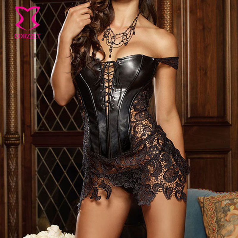 Black Leather   Bustier   Steampunk   Corsets   and   Bustiers   Gothic Corselet Plus Size   Corset   Lace Skirted Zipper Waist Trainer S-6XL