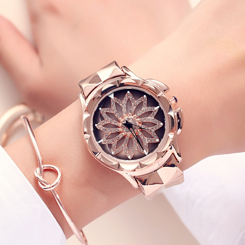 Luxury rose gold rotatable dial crystal women watch top brand ladies fashion leather creative quartz watch reloj mujer 2018 amica luxury crystal diamond blue shell dial womens quartz watch ladies watch