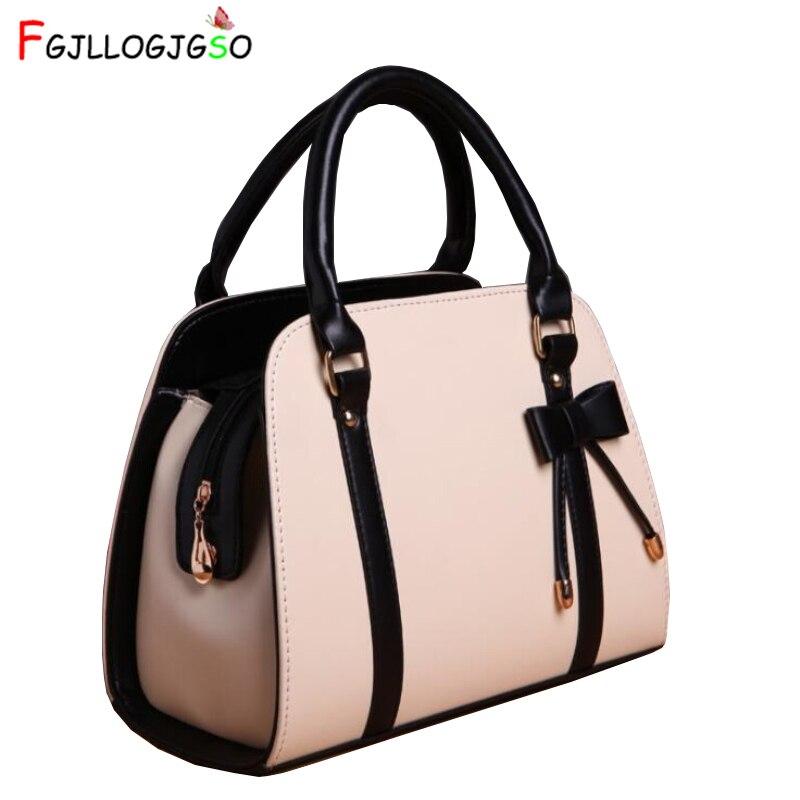 FGJLLOGJGSO Marca Casual Feminino bolsa de couro bowknot bolsa de ombro crossbody sacos para mulheres mensageiro saco Da Senhora bolsa feminina