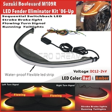 Moto LED Fender Luce di Freno Bar Sequenziale Switchback Fanale Posteriore Per Suzuki Boulevard M109 M109R M90 2006-Up Posteriore di Stop lampada