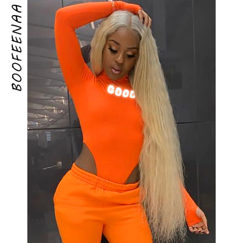 BOOFEENAA Sexy Bodysuit Reflective Letter High Cut Long Sleeve Body Suits For Women Lime Green Neon Orange Clubwear Fall C66-I09