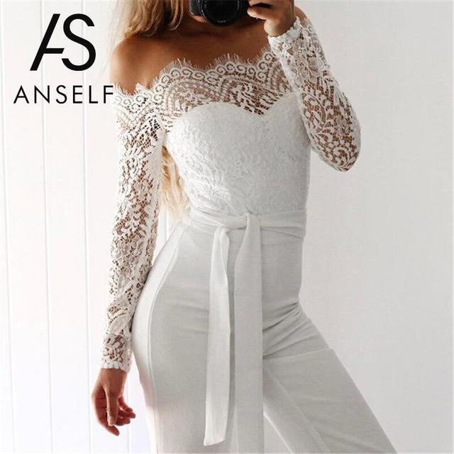 d314011b8f6b Anself Sexy Women Off Shoulder Scalloped Lace Jumpsuit Backless Zip Back  Playsuit Long Sleeve Clubwear Party Rompers Belt White