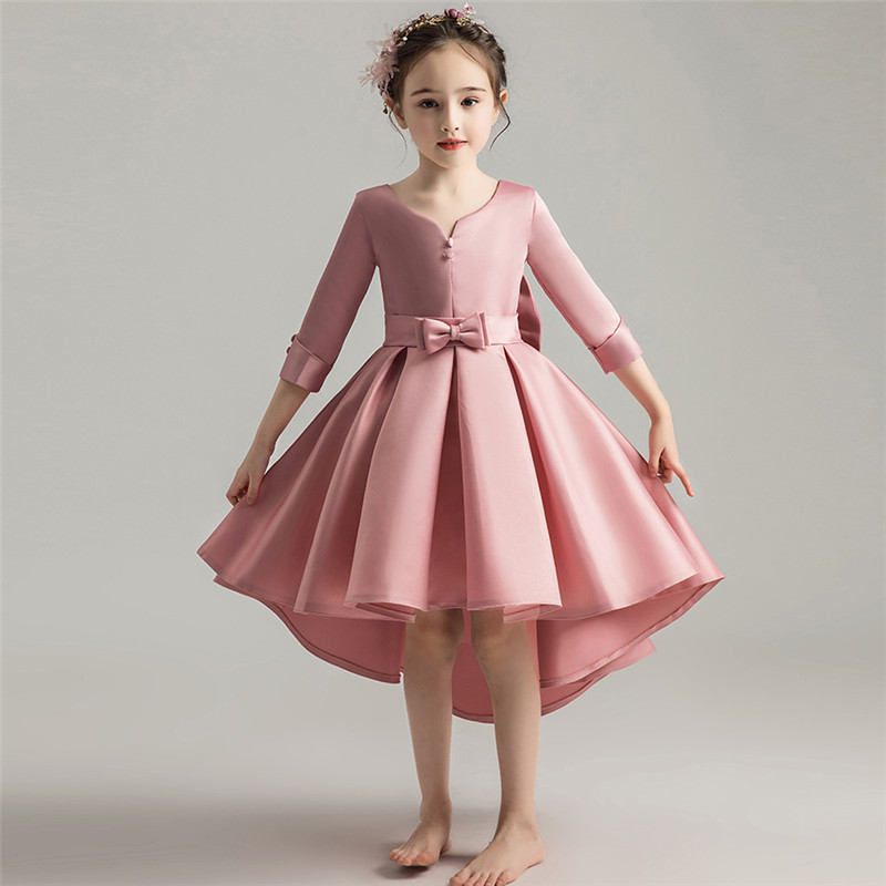 Autumn Winter New Children S Elegant Birthday Wedding Party Prom Dress Baby Kids Piano Performance Host Costume Tail