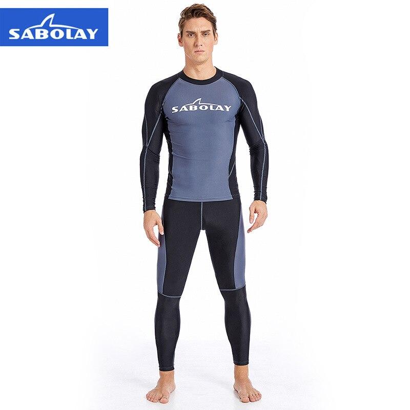 Sabolay camisa superior de manga longa dos homens calças surf banho secagem rápida rash guards definir proteção uv praia mergulho snorkeling maiô