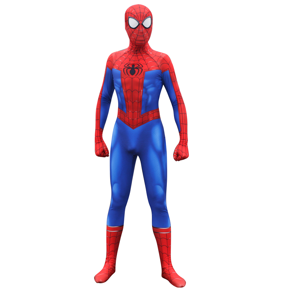 Spider-Man Into the Spider-Verse Peter Benjamin Parke Cosplay Costume Zentai Spiderman Superhero Pattern Bodysuit Suit Jumpsuits