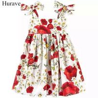 Hurave Baby Girls Print Strapless Dress Clothes Children Western Style Sleeveless Dress Clothing Kids Sling Princess