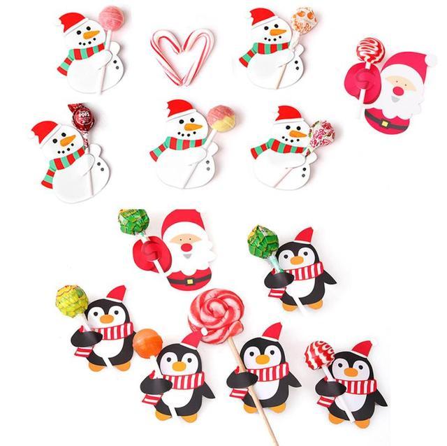 50x Santa Claus Penguin Lollipop Christmas Card lolly sugar-loaf Xmas Party Toys July27 Drop Ship