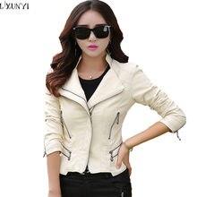 M-5XL chaqueta de cuero de talla grande para mujer primavera otoño 2018 moda  coreana Multi Zipper Slim cuero Colat mujer chaquet. 521922c4571