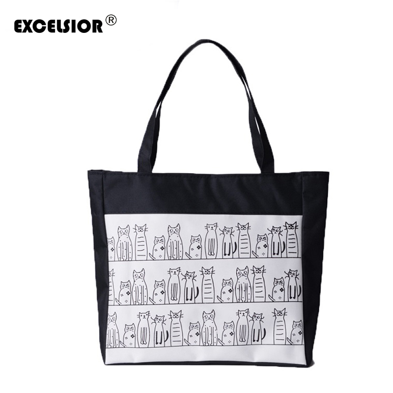 EXCELSIOR Female Canvas Cute Cats Pattern Tote Printing Women Fashion Handbag Canvas Beach Bags For Girls Bolsa Cat Bag G0624 cute doughnut pattern beach towel for women
