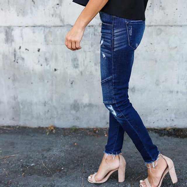 Women Denim Skinny Pants Ripped Destroyed Pleated Stretch Jeans Slim Pencil Trousers 5