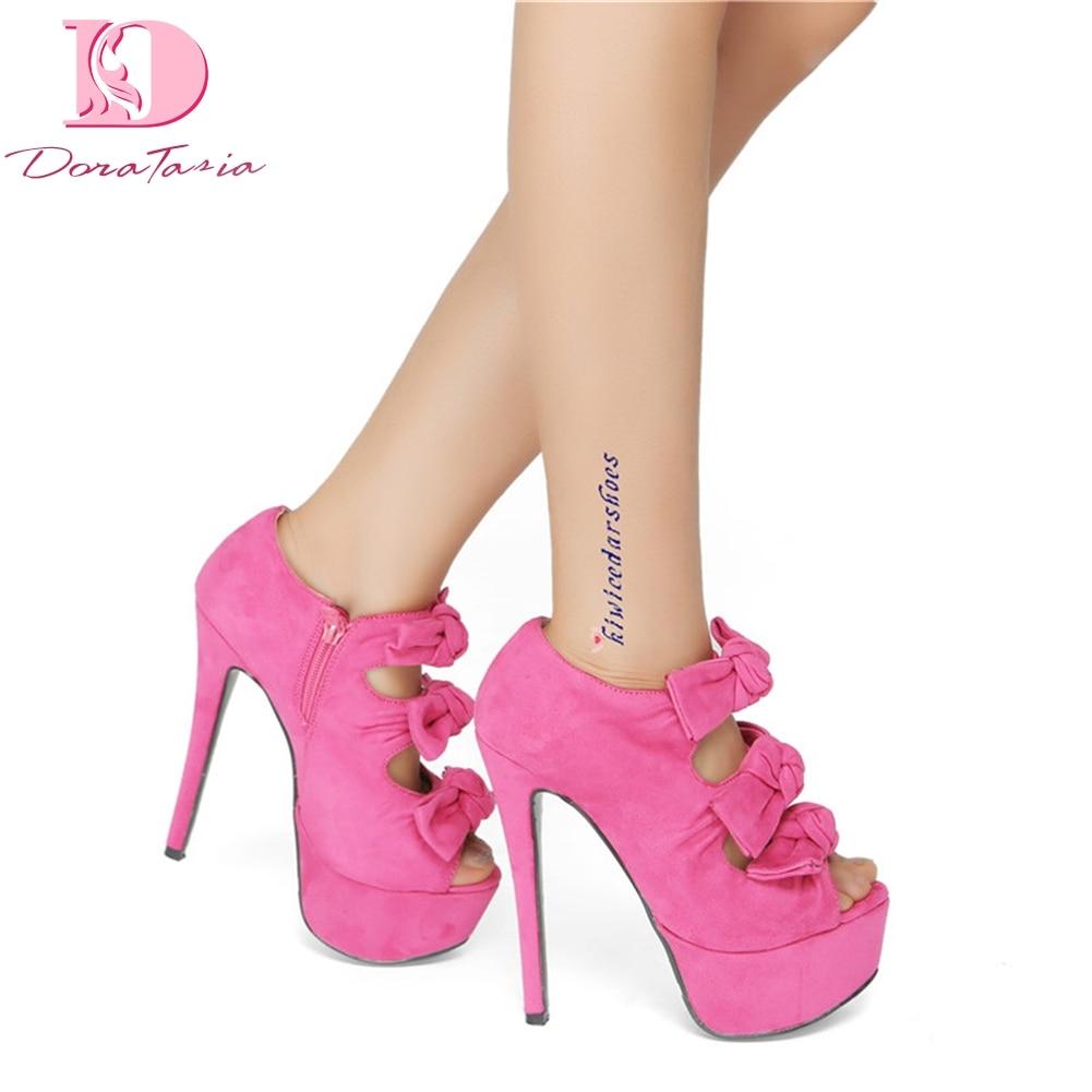 DoraTasia mode grande taille 34-47 offre spéciale Peep Toe plate-forme d'été sandales femme chaussures à talons hauts chaussures de fête femme