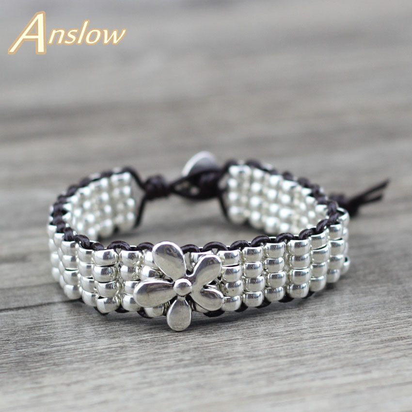 Anslow Brand Fashion Jewelry Antique Silver Plated Beads Lucky Flowers Women Men Leather Bracelet Black Friday Gift LOW0635LB