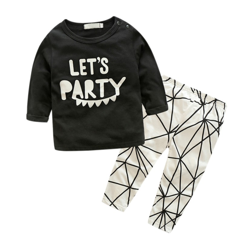 Cute Infant Newborn Baby Kids Boys And Girls Half Sleeve Letter Tops +Plaids Pants Outfits Set 0-24M