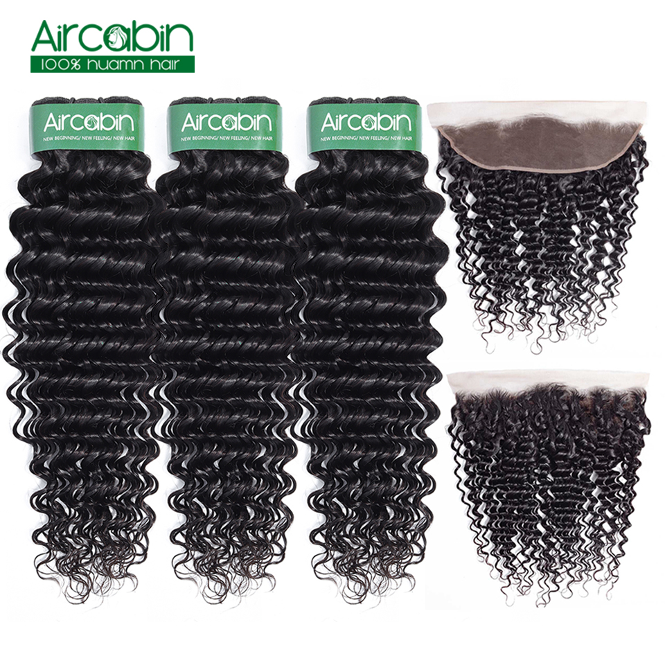 Aircabin Peruvian Deep Wave Bundles With Frontal Ear To Ear Lace Front With BundleS Peruvian Human