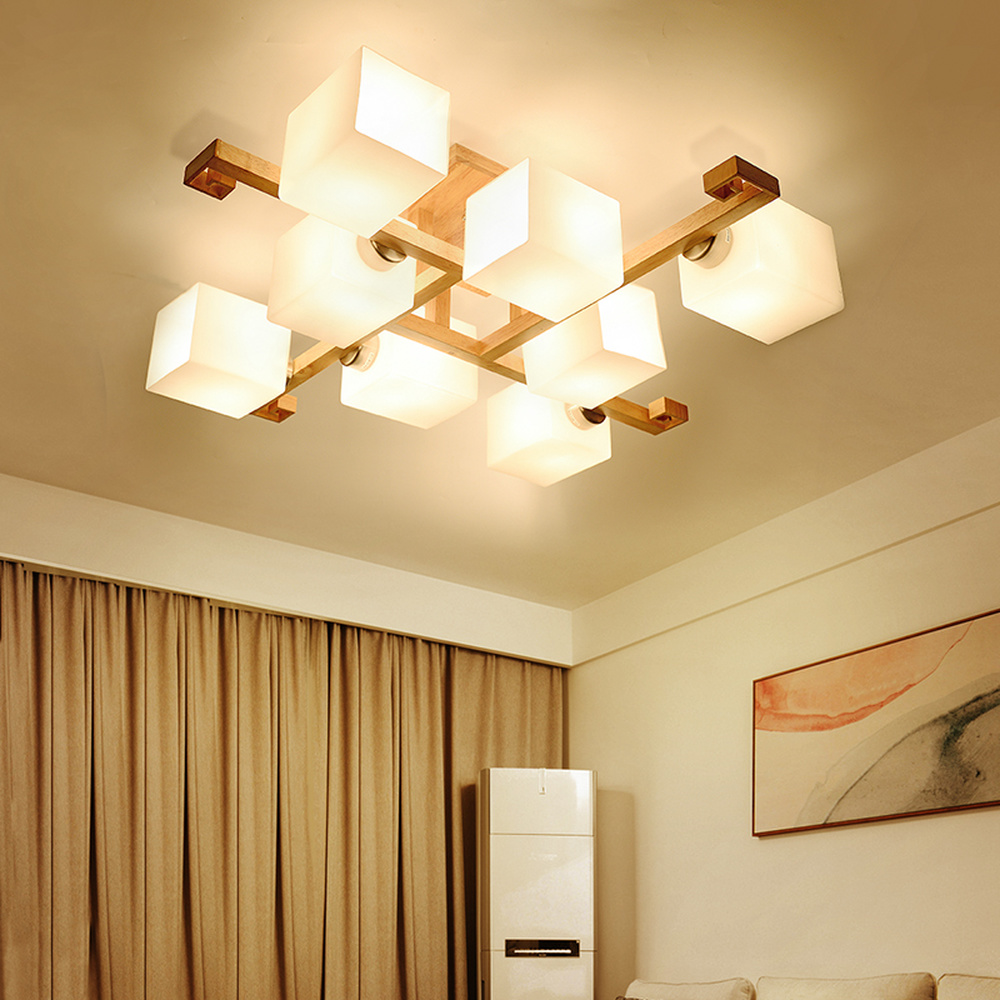 Chinese style new ceiling lights solid wood living room lamp wooden bedroom tea house study style Nordic ceiling lamp LU8231628 chinese style classical wooden sheepskin pendant light living room lights bedroom lamp restaurant lamp restaurant lights
